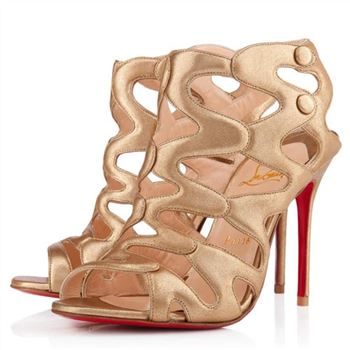 Christian Louboutin Valonana 100mm Ankle Boots Gold