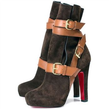 Christian Louboutin Guerriere 120mm Ankle Boots Chocolate
