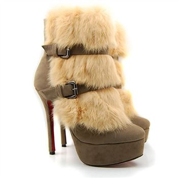 Christian Louboutin Toundra Fur 120mm Ankle Boots Beige