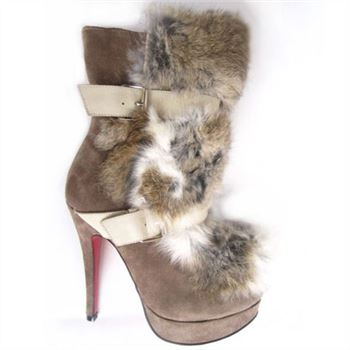 Christian Louboutin Toundra Fur 120mm Ankle Boots Brown