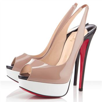 Christian Louboutin Lady Peep 140mm Slingbacks Nude/White