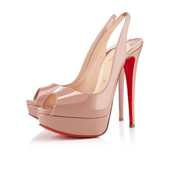 Christian Louboutin Lady Peep 140mm Slingbacks Nude