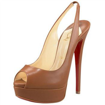 Christian Louboutin Lady Peep 140mm Slingbacks Brown