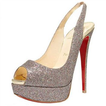 Christian Louboutin Lady Peep 140mm Slingbacks Silver