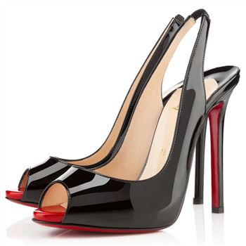 Christian Louboutin Flo 100mm Slingbacks Black/Rouge Lipstick