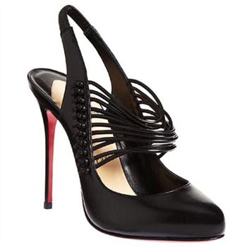 Christian Louboutin Mille Cordes 100mm Slingbacks Black
