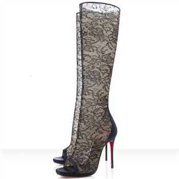 Christian Louboutin Alta Dentelle 120mm Boots Black